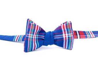 Red, Blue & Turquoise Plaid Bow Tie