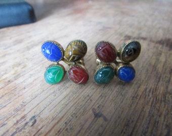 Vintage 1950's 12kt Gold Filled natural Stone Engraved SCARAB EARRINGS with 4 Gemstones, Agate, 12k gf, 1/20 12K