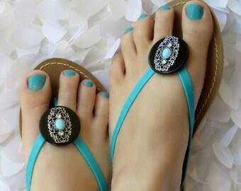 Sandal Accessories Turquoise & Black Wrap Flip Flop Clips Flexible  Shoe Clips, Sandals, Scarves, Boots, Hair, Pendant, gift under 20