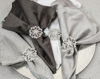 100pcs Pearl Napkin Rings, Rhinestone Wedding Napkin Rings Table Decor Wedding Bling, 411-S-N