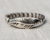 Sterling Silver Flattened Ball Bead Feather Ring - Unique Wedding Ring - Keepsake - Graduation - Luck - Rememberance