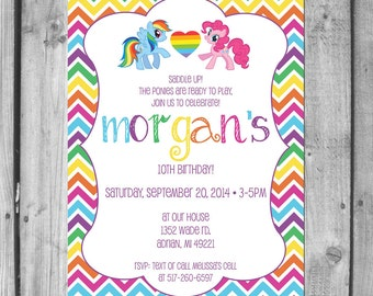 Rainbow Pony Birthday Party Invitations