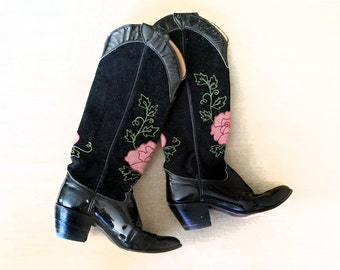 Women's TALL Vintage 70s Cowboy Boots Rockabilly Las Vegas Embroidered Roses Black Suede & Patent Leather Pink Flowers Justin Size 7 (8)