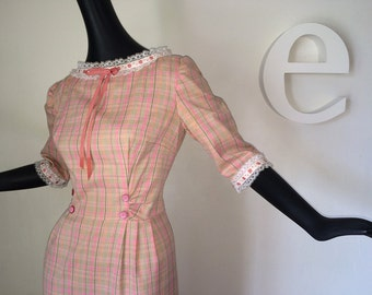 """It's """"Nellie Olson Couture!"""" Vintage 60s 70s Hippie Prairie Maxi Dress Little House on the Prairie Pink Plaid Lace Country Chic Small Medium"""
