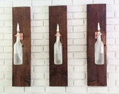2 Wine Bottle Oil Lamps (frosted) - INDOOR - Gift for Mom - Hanging Lantern - Wall Lamp - Light Sconce - Modern Lighting