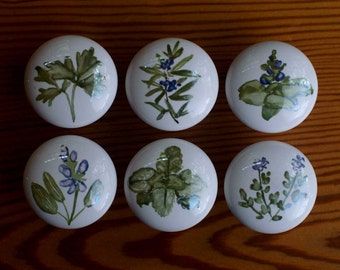 HANDPAINTED CABINET KNOBS- Herbs, Sage, Mint, Basil, Thyme and Rosemary on porcelain pulls