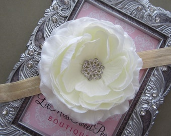 Cream Ranunculus Flower with a Rhinestone Center - 4 inch flower