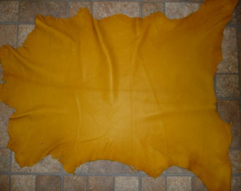 "Leather 34""x23"" Yellow Cationic GOATSKIN 6.75 sq ft Hide 2-2.25oz / .8-.9mm PeggySueAlso #368"