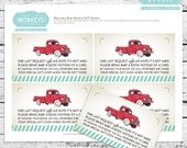 Personalized Vintage Truck Baby Shower Invitation Inserts, Diaper Raffle or Book Instead of a Card