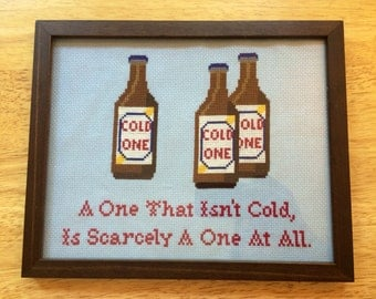 PATTERN Beer Cross Stitch Cold One PDF Instant Download Bar Decor