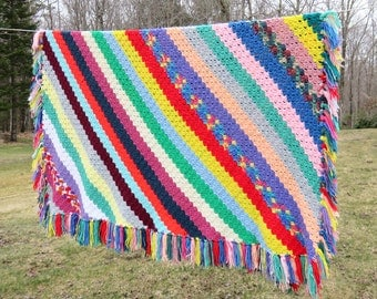 Crochet afghan blanket throw in colorful diagonal stripes and fringes - Vintage multicolored striped afghan throw blanket 66 x 64 in