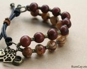 I Love my Dog Acai Bracelets - Açaí seeds, leather and antique bronze spacers- charms, rescue