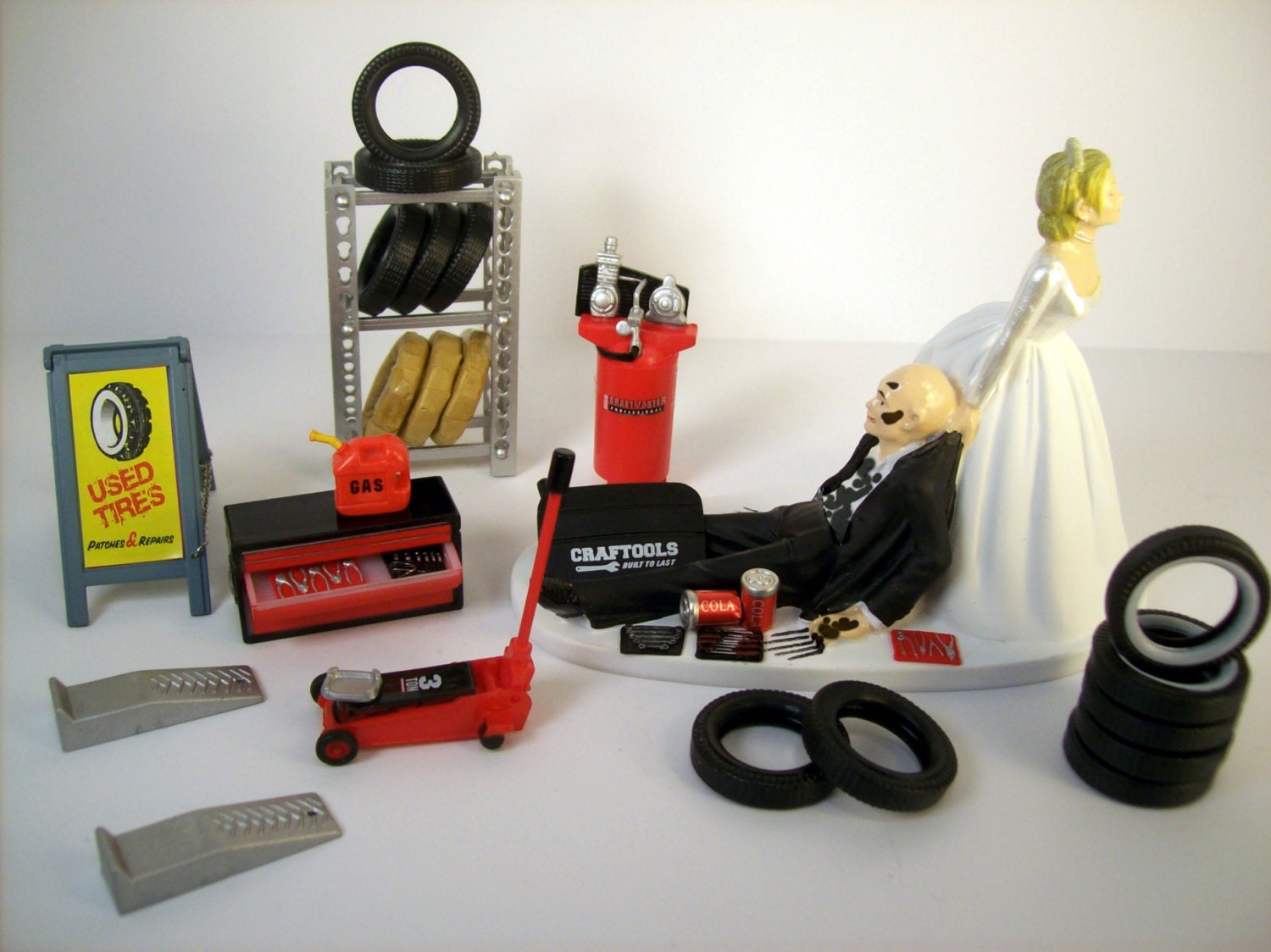 Funny Wedding Cake Topper Mechanics AUTO MECHANIC Tires BALD