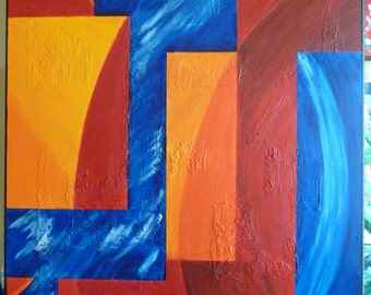 """Total Recall Adventure. A 24"""" x 36"""" X 3/4"""" original acrylic painting on back stretched canvas."""