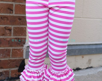 Ready to ship hot pink stripe triple ruffle capris