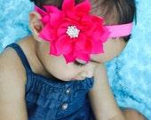 Hot pink  Headband Rhinestone flower,Girl headband .