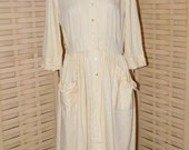 Vintage 1940-1950s Yellow/White Cotton Striped Day or House Dress, VG Used Size S/M, Made by Youth Fair Junior