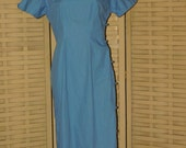 Vintage 1940-1950s Powder Blue Cotton Asian Style Dress, VG Used Size S/M, Made in Japan
