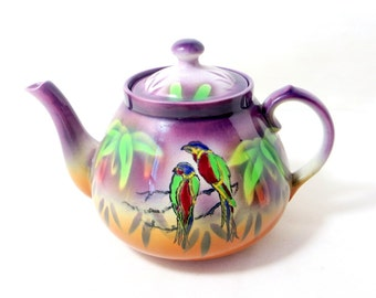 Art Deco Parrot Tea Pot, Large 2.5 Pint Handpainted Purple Parrots Macaws 'Gretna' Earthenware Teapot 1930s