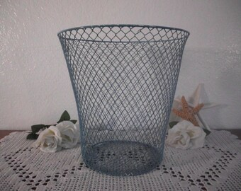 Waste Paper Basket Aqua Turquoise Teal Blue Wire Shabby Chic Distressed Beach Cottage Coastal Seaside Nautical Island Home Decor Office