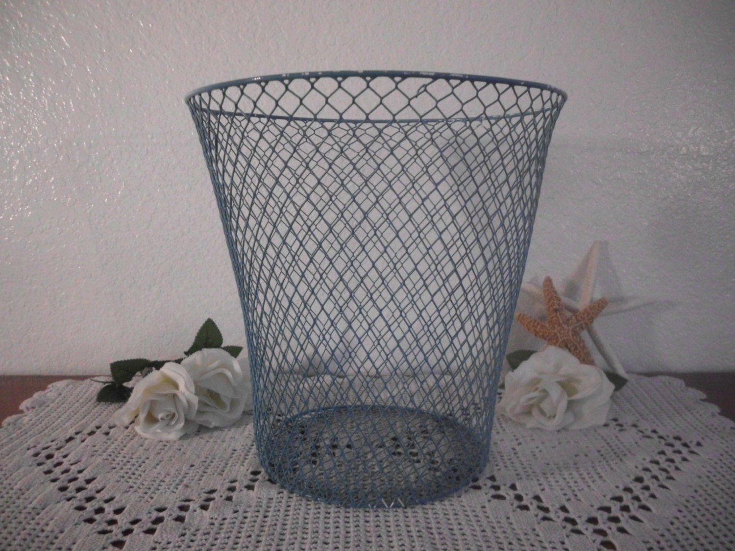 Waste paper basket aqua turquoise teal blue wire shabby chic - Shabby chic wastebasket ...