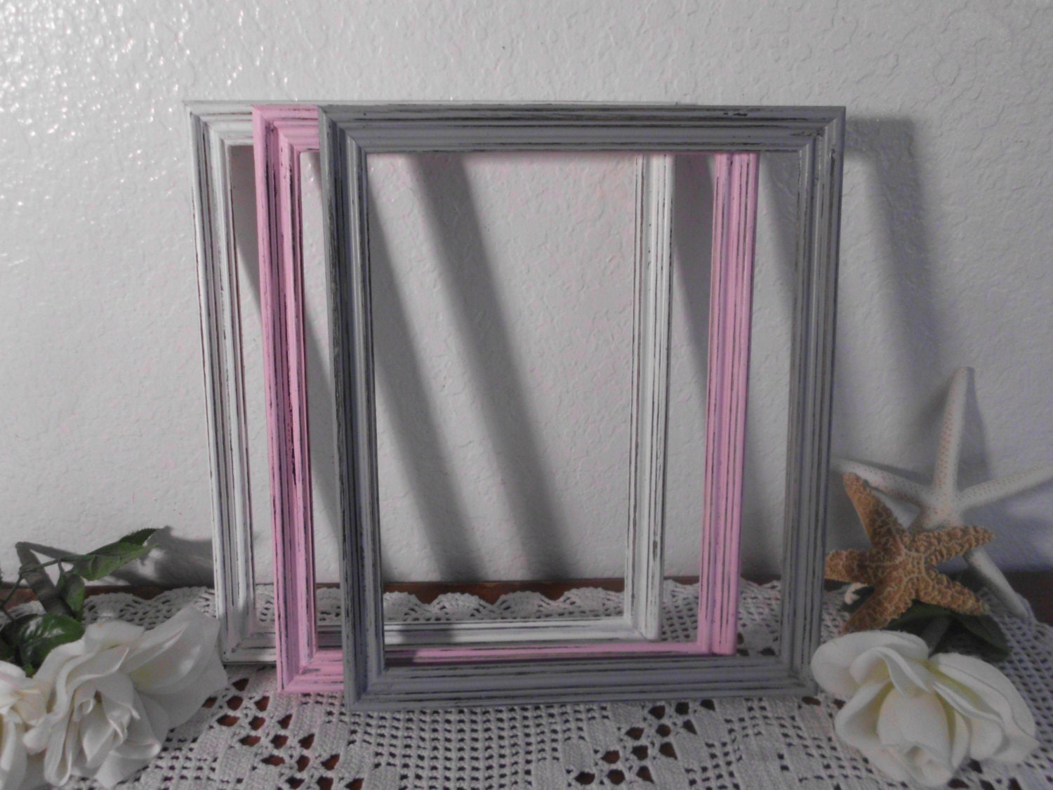 Pink grey white 8 x 10 picture frame rustic shabby chic distressed 1275 jeuxipadfo Image collections