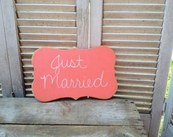 Coral and White Just Married Photo Prop Sign, Wooden Coral Wedding Decor Sign, Just Married
