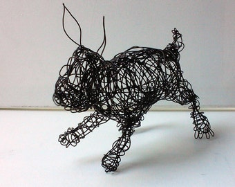 Unique Wire Sculpture - BABY BUNNY - Rabbit Sculpture