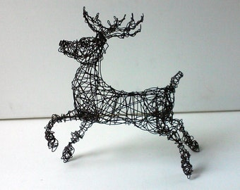 SALE - Unique Wire Animal Sculpture - PRANCING DEER
