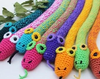 CUSTOM  Snake  stuffed bright colors toy Crochet