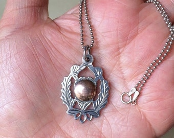 Antique Pendant Sterling Silver 925 Necklace Rose Gold Tone Watch Medal Fob Vintage England 1909