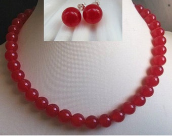 JADE SET- 17inch 10mm red jade necklace earring set