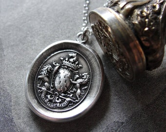 Honor Guide My Steps - Wax Seal Necklace antique Rampant Lions armorial shield crown and horse by RQP Studio