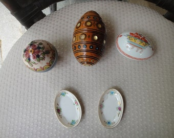 Vintage Egg collection Russian 3 egg shell inlay and more