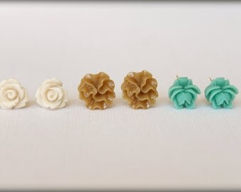 Flower Earring Studs Trio: Oatmeal Rose, Blue Green Rose Bud, Chai Ribbon Flower