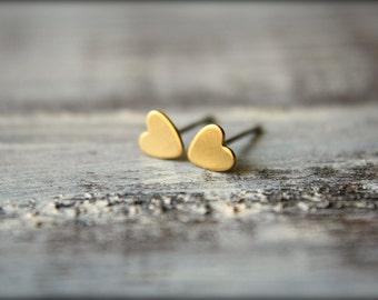 Itty Bittiest Heart Earring Studs in Raw Brass, Stainless Steel Posts