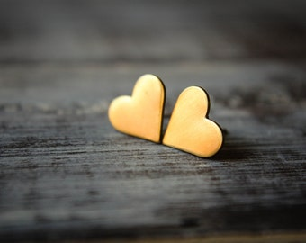 Large Heart Earring Studs in Raw Brass, Stainless Steel Posts