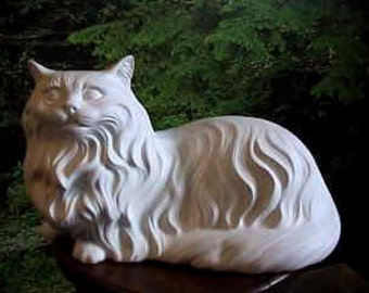 "17"", Large Cat, Realist Kitten, Long haired Cat, Persian Cat, Vintage Cat, Vintage Kitten, Ready to paint, u-paint, Ceramic Bisque"