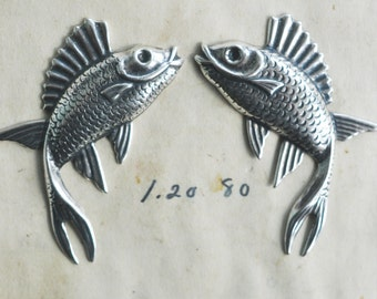Brass Fish, Left and Right Brass Stampings - Sterling Silver Finish- Jewelry Making Supplies by CalliopesAttic