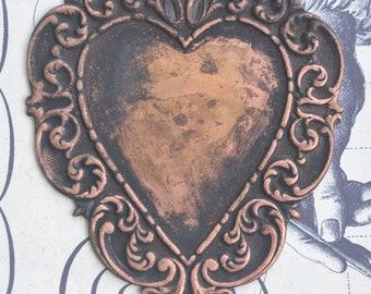 Large Heart Pendant, Honey Patina - Steampunk Supplies by CalliopesAttic