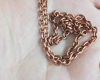 18 gauge Brass, Simple Cable Link Chain, X1FT,  Rose Ox