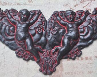 Neo Victorian centerpiece with cherubs, Wicked Sassy Patina
