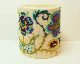 Cleopatra Cuff- Wool Felt Embroidery Beads