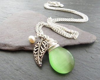 Silver Leaf Necklace, Green Glass Teardrop Necklace, Freshwater Pearl Necklace, Wire Wrapped Pendant, Green Cluster Necklace, UK Seller