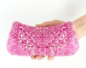 Pink and Silver Moroccan Patterned Wedding Clutch Evening Bag Bridesmaid Purse