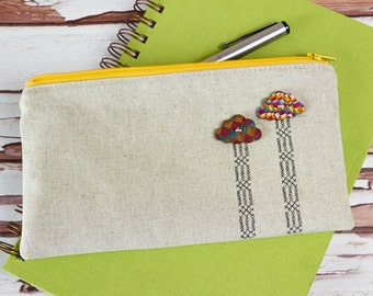 Raining Cross Stitch Simple Linen Zipper Pouch Embroidered Pencil Case