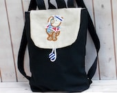 Carchoal greyCanvas kid backpack with nautical bear , mini backpack, kid backpack, children bag