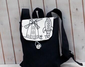 Canvas kid backpack, mini backpack, kid backpack, children bag, rocket bag, windmill bag, grey kid backpack, boy bag,