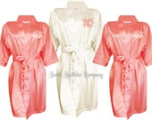 5 Embroidered Satin Wedding Robes, Bride and Bridesmaids Gift