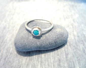 Stackable Turquoise and Sterling Silver ring, Sterling Silver ring, Gemstone ring,Blue gemstone ring, Blue gemstone ring, Dainty ring